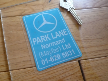 "Mercedes Benz Park lane Normand Ltd Dealers Window Sticker. 4""."
