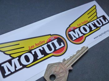 "Motul 1950 - 60's style winged Text Stickers. 3"" Pair."