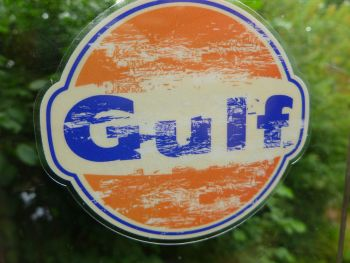 Gulf Distressed Old Style Window Sticker. 75mm.