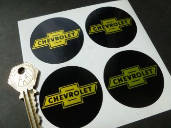 Chevrolet Dicky Bow Black & Yellow Wheel Centre Stickers. Set of 4. 50mm.