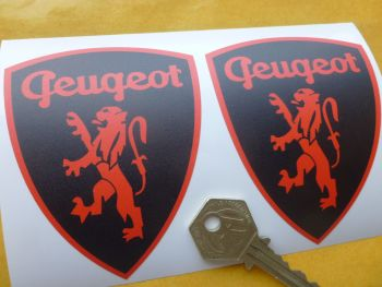 "Peugeot Classic Red & Black Lion in Shield Stickers. 3.5"" Pair."
