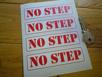 No Step. Race Car/Aircraft/Boat/Trailer etc. Stickers. 110mm. Set of 4.