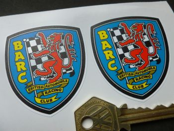 "BARC British Automobile Racing Club Shield Body or Window Stickers. 2"" Pair."