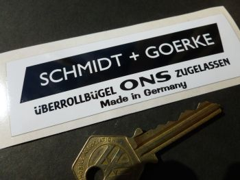 "Schmidt & Goerke Black & White Oblong Roll Cage Überrollbügel Sticker. 4""."