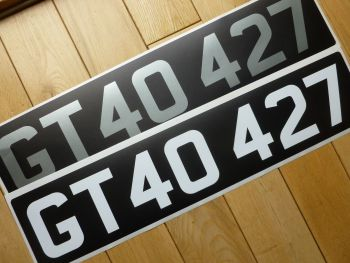 UV Printed one piece Mandatory font Stick On Car Number Plates for Classic Cars and Motorcycles variable size.