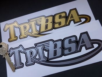 "TriBsa Shaped Text Stickers. 7"" Pair."