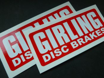 "Girling Disc Brakes White on Red Style Oblong Stickers. 5"" Pair."
