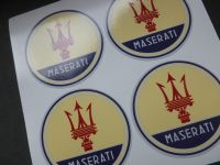 Maserati Coloured Wheel Centre Stickers. Set of 4. 50mm.