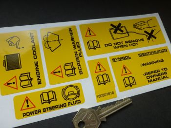 Rover, MG, Land Rover, Range Rover Under Bonnet Warning Label Stickers. Set of 6.