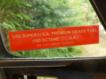 "Use Premium Grade Oil 100 Octane Window Sticker. Jaguar, Range Rover, etc. 5""."