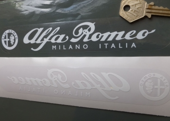"Alfa Romeo White on Clear Window or Car Body Sticker. 8""."