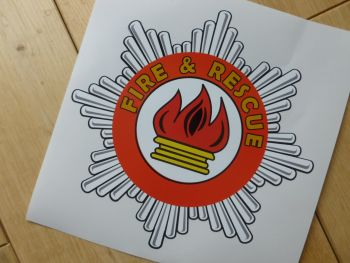 "Fire & Rescue Star Badge Shaped Sticker. 6""."