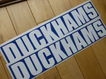 "Duckhams Classic Style Close Cropped Text White on Blue Oblong Stickers. 18"" Pair."