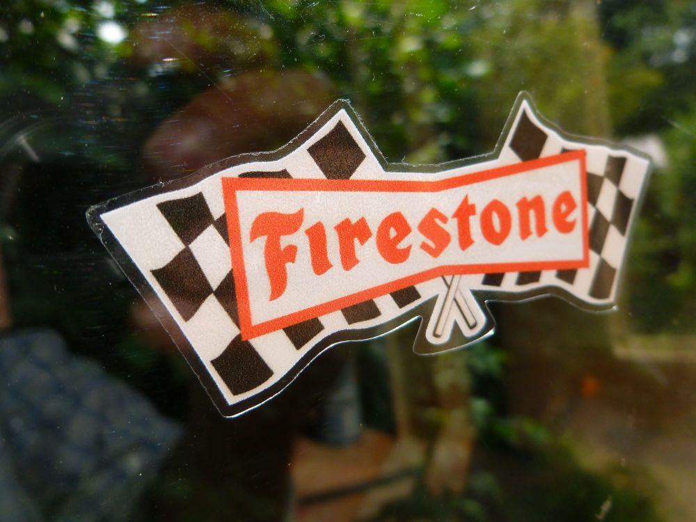 Firestone Chequered Flags Black Red & White Window Sticker. 4.75