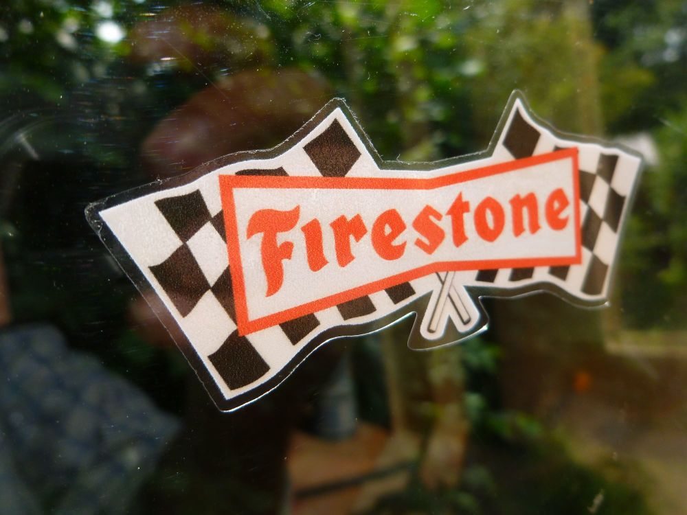 Firestone Chequered Flags Black Red & White Window Sticker. 80mm or 120mm.