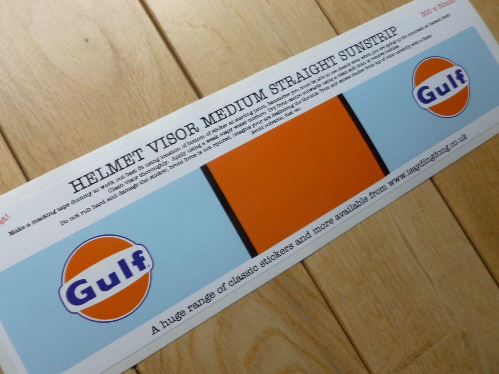 "Gulf Helmet Visor Straight Sunstrip Sticker. 12"". 50mm Tall."