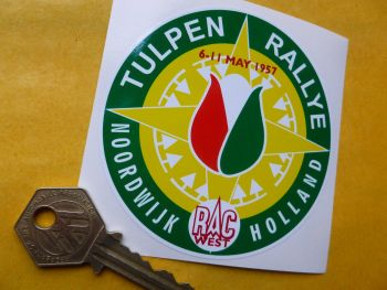 "Tulip Rally Tulpenrallye Noordwijk Rally Sticker. 3.25""."
