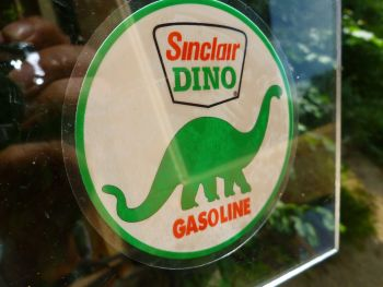 "Sinclair Dino Gasoline Circular Window Sticker. 3.5""."