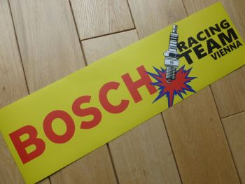 "Bosch Racing Team Vienna Spark Plug Yellow & Red Oblong Stickers. 16"" Pair."