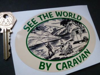 "See The World By Caravan Classic Caravan Sticker. 5""."