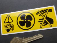 "Rover, MG, Land Rover, Range Rover, Rotating Fan Warning Sticker. 4.25""."