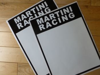 "Martini Black & White Race Car Door Panel Stickers. 16"" Pair."