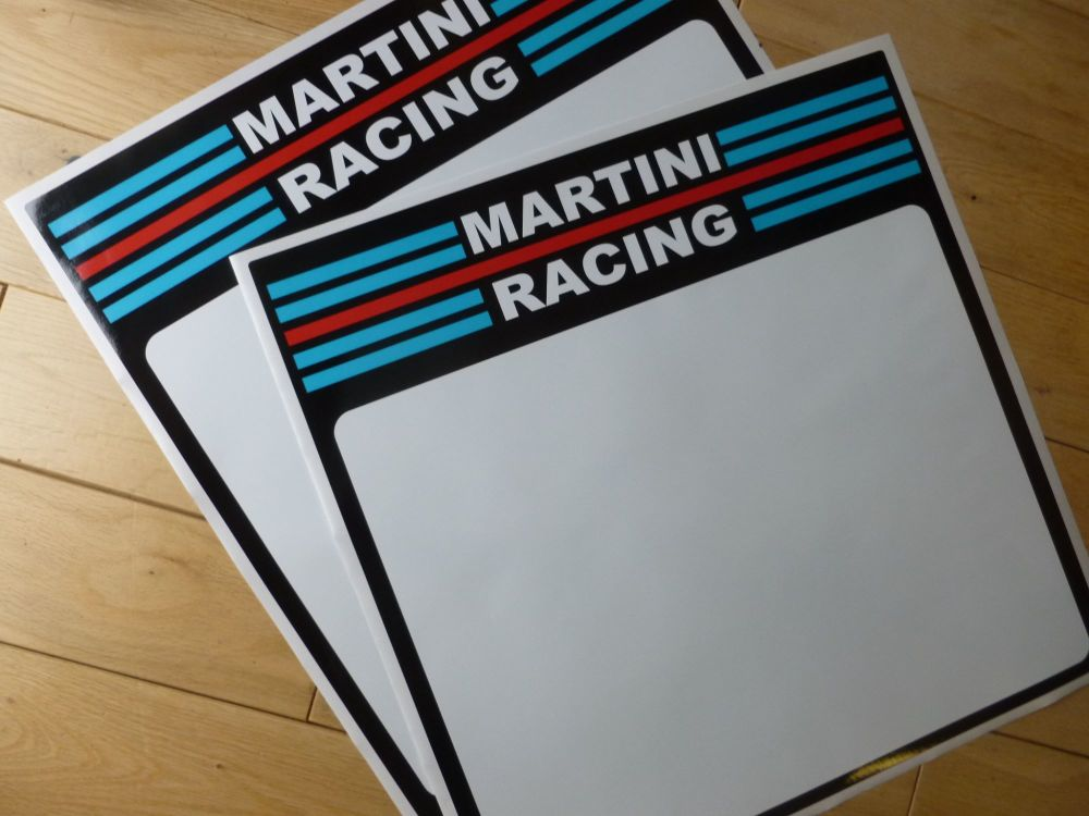 martini racing coloured race car door panel sticker pair. Black Bedroom Furniture Sets. Home Design Ideas