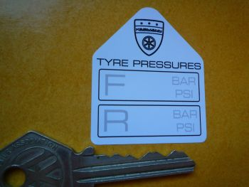"Karmann Tyre Pressure Stickers. 1.75"" Pair."