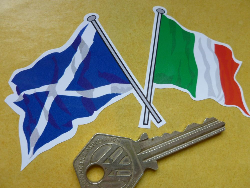 "Crossed Scottish Saltire & Italian Tricola Flag Sticker. 4""."
