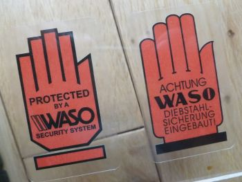 "Waso Car Alarms Classic Car Window Sticker. German or English Text. 2.75""."