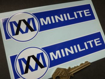"Minilite Blue & White Shaped Stickers. 6"" Pair."