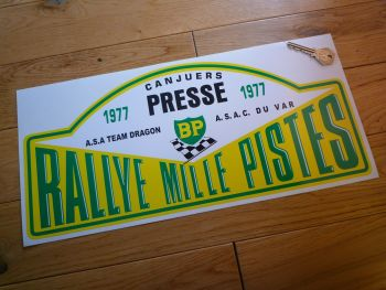 "Rallye Mille Pistes BP 1977 Presse Rally Plate Sticker. 16.5""."