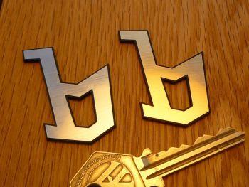 """Bertone 'b' Laser Cut Self Adhesive Car Badge. Silver or Gold. 2""""."""