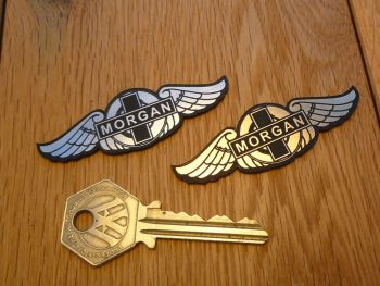 "Morgan Wings Laser Cut Self Adhesive Car Badges. 1.5"" or 2.5"" Pair."