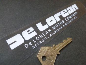 """Delorean White on Clear Window or Car Body Sticker. 8""""."""