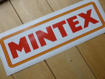 "Mintex Yellow, Red & White Oblong Stickers. 12"" Pair."