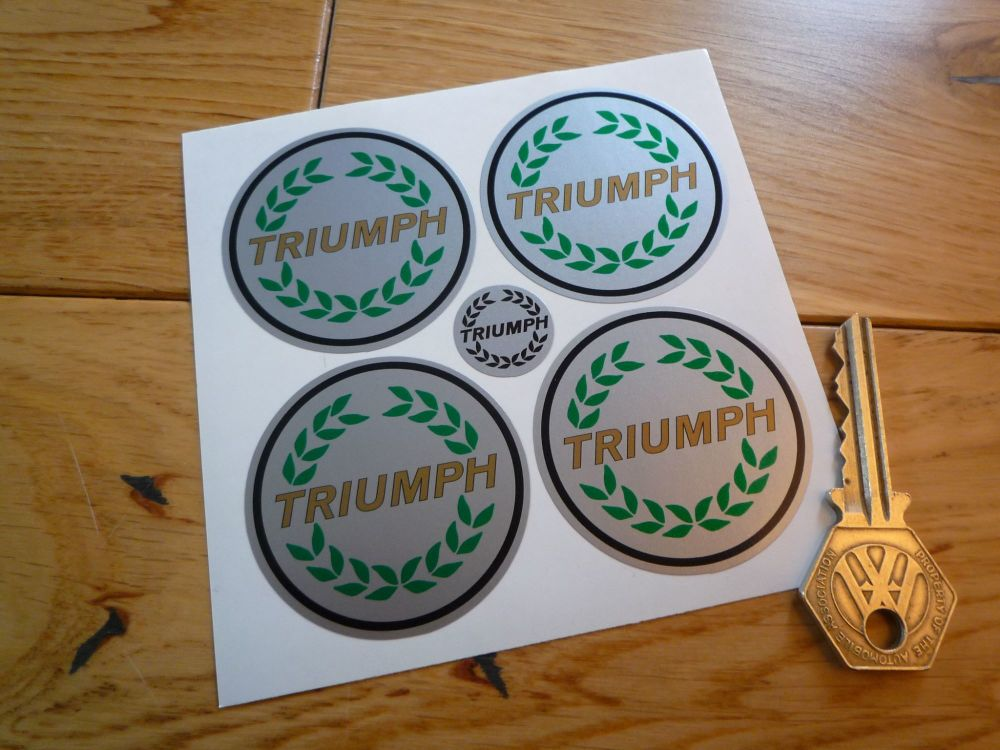 Triumph Garland Style Colour & Silver Wheel Centre Stickers. Set of 4. 50mm