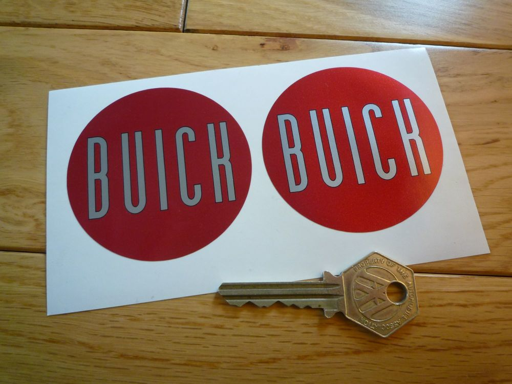 Buick Red & Silver Circular Stickers. 65.5mm Pair.