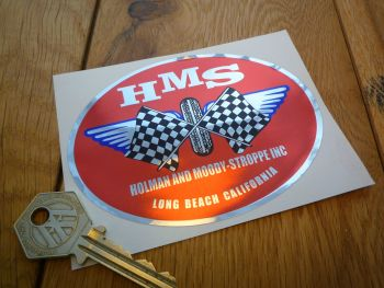 "Holman and Moody-Stroppe Inc HMS Oval Chrome Sticker. 4.25""."