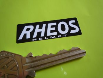 "Rheos Helmet Oblong Black & White Stickers. 2"" Pair."