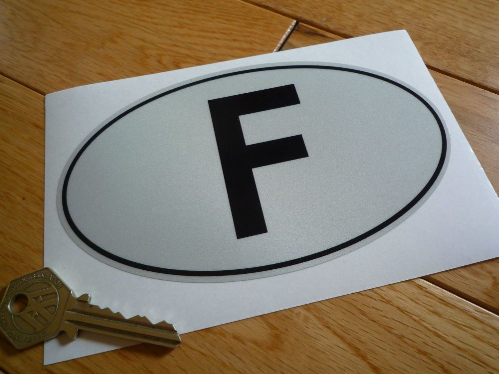 "F Reflective with Black Outline ID Plate Sticker. 6""."