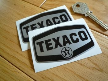 "Texaco Black & Silver Logo Stickers. 3"" Pair."