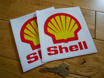 "Shell F1 Angular Red Text & Logo Stickers. 5.25"" Pair."