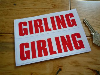"Girling Red on White Oblong Stickers. 5"" Pair."