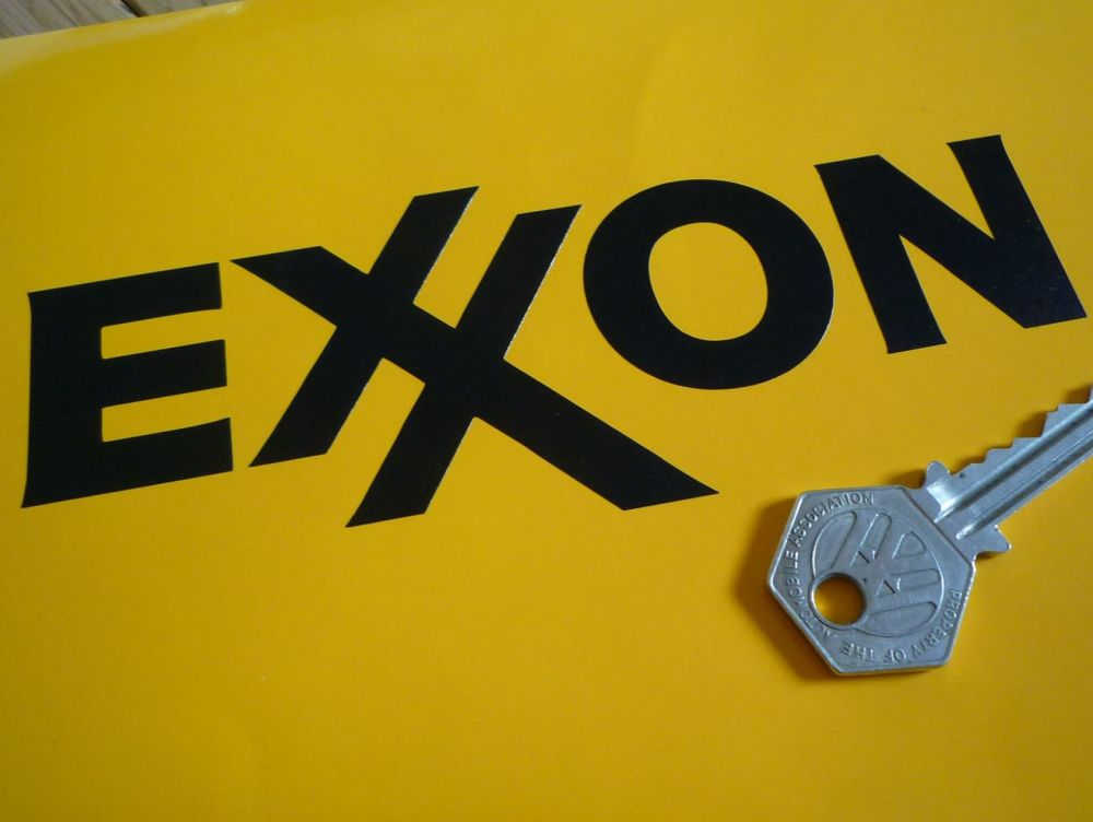 "Exxon Text Cut Vinyl Stickers. 6"" or 10"" Pair."