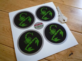 Abarth Scorpion Wheel Centre Stickers. Green, Black, Silver. Set of 4. 65mm.