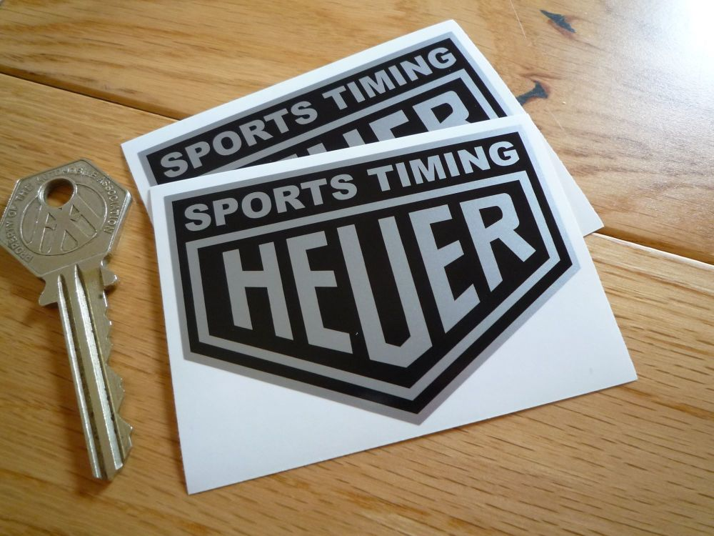 """Sports Timing Heuer Black & Silver Stickers. 3"""" Pair."""