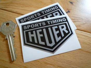 "Sports Timing Heuer Black & Silver Stickers. 3"" Pair."