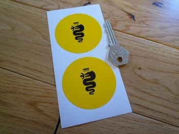 Alfa Romeo Black on Yellow Small Serpent Stickers. 58mm Pair.