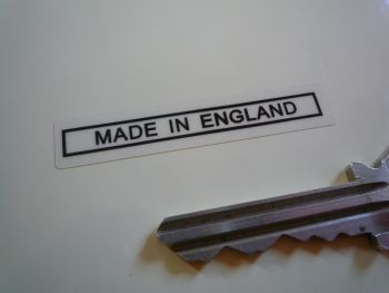 "Made in England Text & Outline Sticker. Black & Clear. 2""."